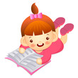 Girl is reading a big book lying face down. Education and life C
