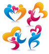 bright people in love,vector collection of hearts and abstract p