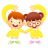 Boy and girl holding hands tenderly, makes a love gesture. Educa
