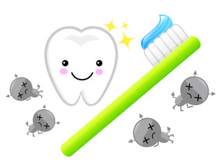 Large brush teeth and bacteria. Education and life Character Des
