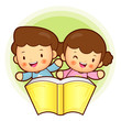 Boy and girl is holding a big book. Education and life Character