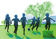 Kinder spielen und Laufen