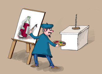 Painter painting wine, cartoon