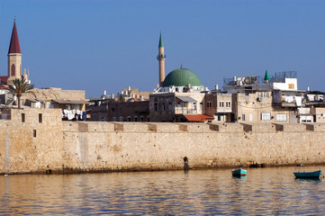 The wall of Acre in Akko Israel