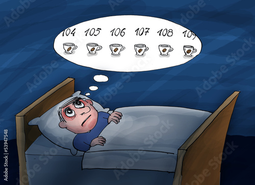 Insomnia. He counting cups of coffee.Too much coffee. Cartoon il
