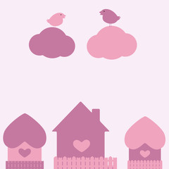 St Valentine`s day card with two birds