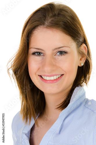 freundlich lächelnde junge frau