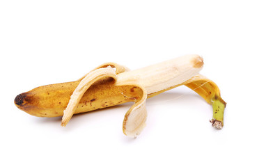 Open banana isolated on a white background