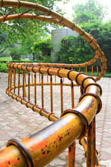 Spiral metal fitness equipment in the Stone Door park, Shijiazhu