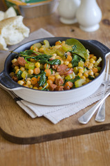 Chickpea, chorizo and spinach stew