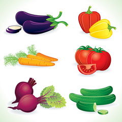 Ripe Vegetable. Icon Set