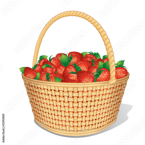 Ripe Strawberries in Basket.