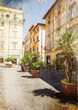 old street in Rome. Italy. Picture in artistic retro style.