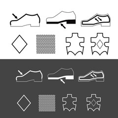 vector set of footwear symbols