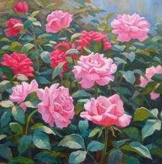 "Картина ""Цветник"", живопись, масло."