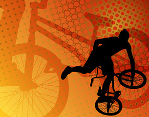 stunt bicyclist on the abstract background - vector