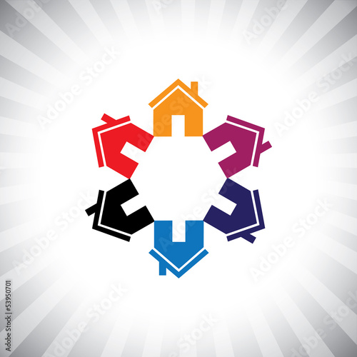 colorful houses(homes) or real estate icon(symbol) in circle