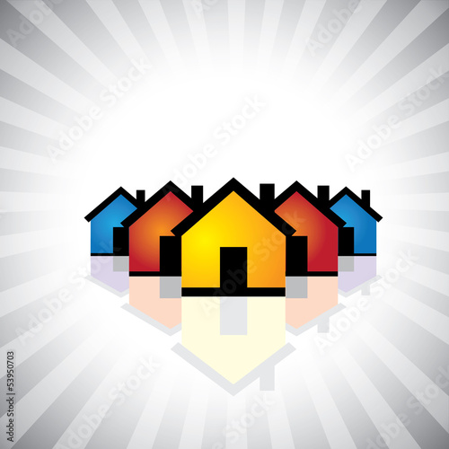 colorful houses(homes) or real estate icon(symbol)- vector graph
