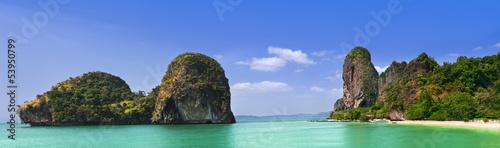 Leinwanddruck Bild Phra Nang Beach, Thailand, Krabi Province, Panoramic picture