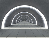 concrete semicircular hallway