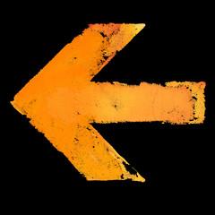 Artistic grunge design left arrow sign isolated on black