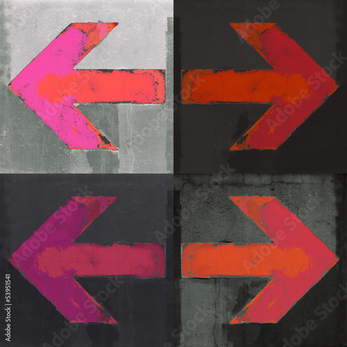 Four red arrows painted on a wall, grunge design arrows set