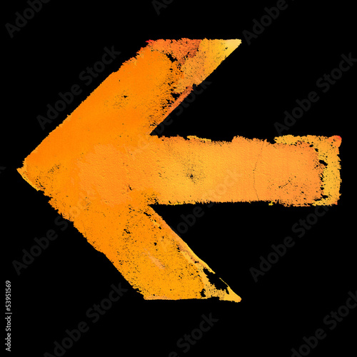 Artistic grunge design left arrow sign isolated on black