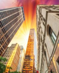 Upward view of Skyscrapers in lower Manhattan - New York City