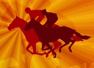 jockeys riding horses on the abstract background - vector