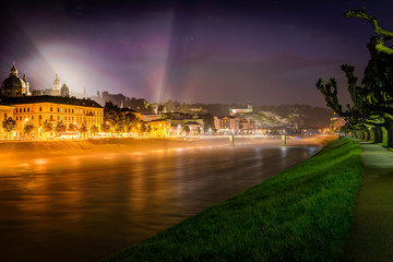 Night view of Salzburg, Austria .