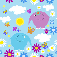 Seamless pattern with elephants and butterflies