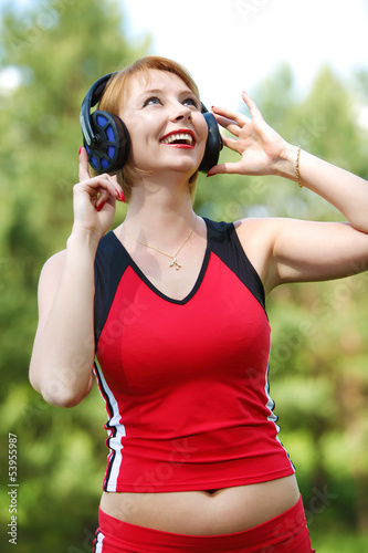 beautiful young woman with earphones