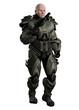 Large muscular marine in futuristic body armour