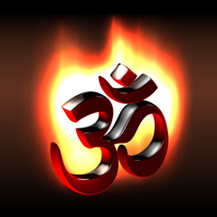 Black om symbol flaming in the dark