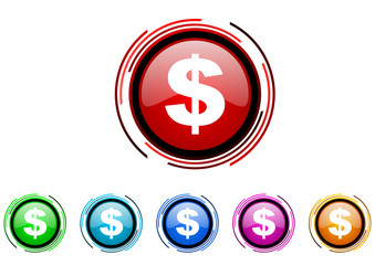 us dollar icon set