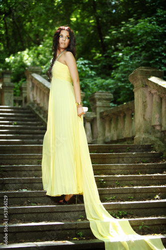 young beautiful woman on the stairs