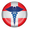 Caduceus First Aid Medical Symbol Button