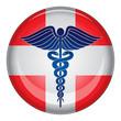 Caduceus First Aid Medical Symbol Button