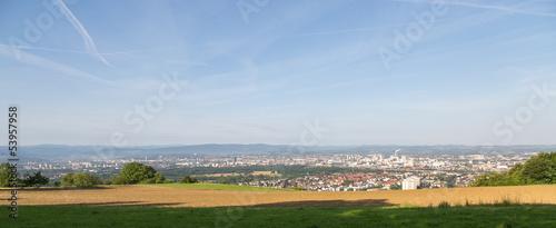 Panorama sur la plaine et la ville de bâle
