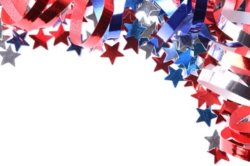 Red, white and blue stars and ribbons on white background
