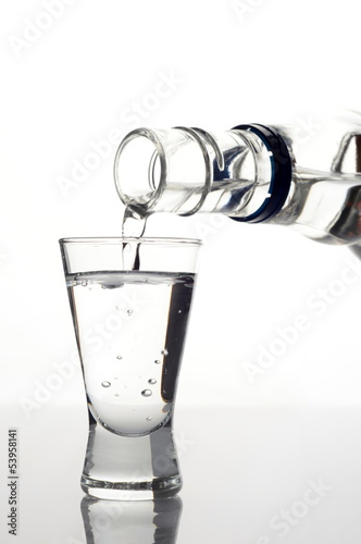 Vodka poured into a glass