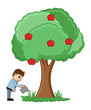 Watering a Tree - Vector