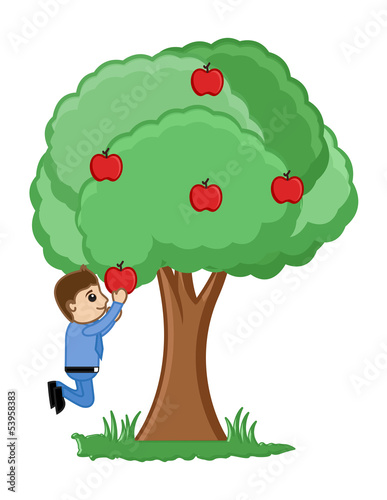 Man Plucking an Apple