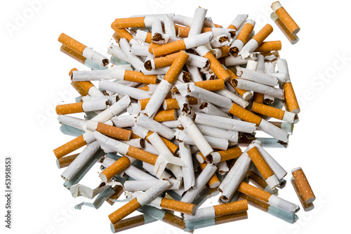 Pile of broken cigarettes top view