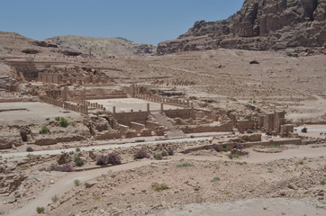 Antic ruins in the valley of Petra