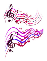 Abstract Colorful Music notes. Vector illustration