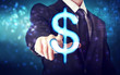 Businessman pointing Dollar icon