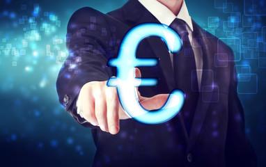 Businessman pointing Euro icon