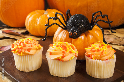 Halloween Spider with Cupcakes and pumpkins