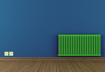 Blue room with green radiator